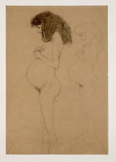 """Stehende Schwangere im Profil, mit Wiederholung der Figur (Studien für """"Die Hoffnung I"""") von Gustav Klimt"""