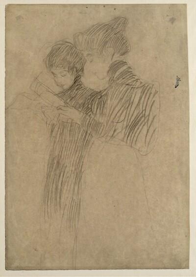 """Zwei stehende Mädchen, mit Blättern in den Händen (Studie für """"Schubert am Klavier"""") von Gustav Klimt"""