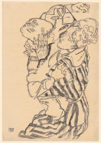 Edith Schiele mit ihrem Neffen von Egon Schiele