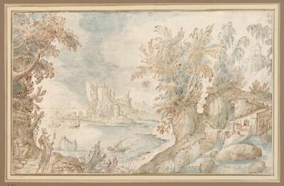 Phantastische Landschaft mit Pilgerpaar von Frederik van Valckenborch