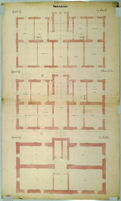 Wien II, Prater (Schüttel), Etablissement Hasenauer, Wohnhaus, Grundrisse von Carl von Hasenauer