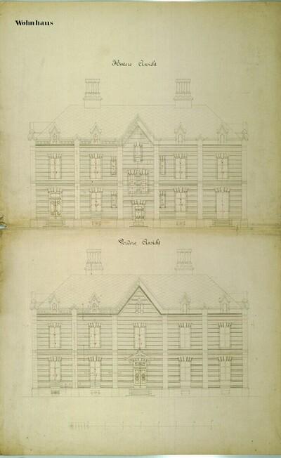 Wien II, Prater (Schüttel), Etablissement Hasenauer, Wohnhaus, Aufrisse von Carl von Hasenauer