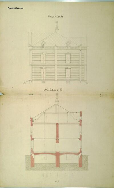 Wien II, Prater (Schüttel), Etablissement Hasenauer, Wohnhaus, Aufriß und Schnitt von Carl von Hasenauer