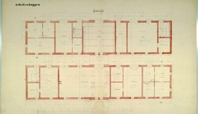 Wien II, Prater (Schüttel), Etablissement Hasenauer, Arbeitsgebäude, Grundrisse von Carl von Hasenauer