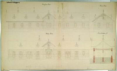 Wien II, Prater (Schüttel), Etablissement Hasenauer, Arbeitsgebäude, Aufrisse von Carl von Hasenauer