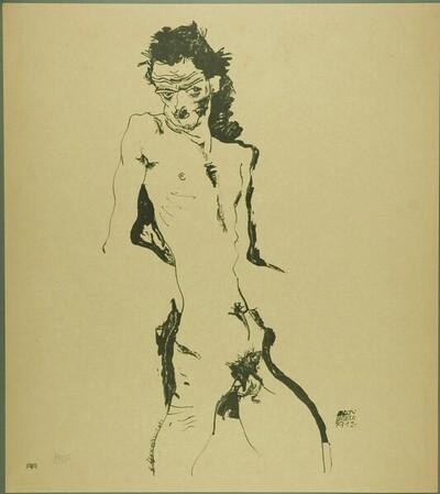 Aktselbstbildnis von Egon Schiele