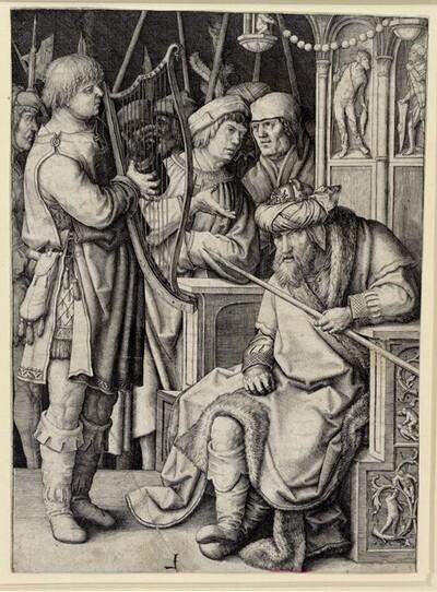 David spielt vor Saul die Harfe von Lucas Hugensz. van Leyden