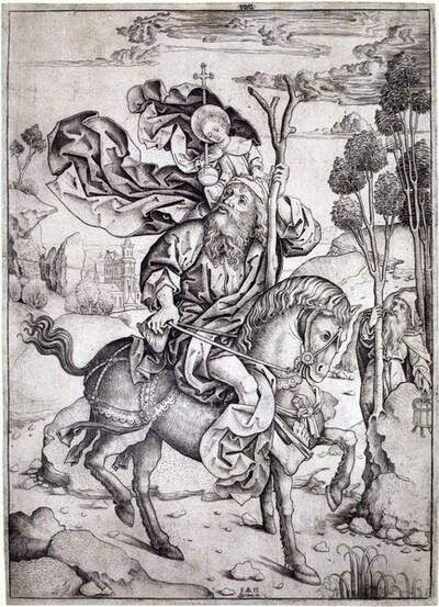 Heiliger Christophorus zu Pferd von Meister IAM von Zwolle