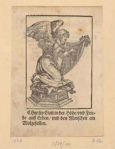 Eine Harfe spielender Engel von Lucas Cranach d. Ä.