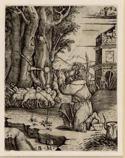 Schalmei spielender Hirte von Benedetto da Montagna