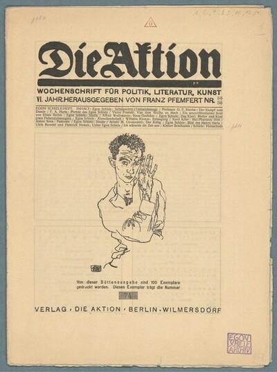 Die Aktion, Wochenschrift für Politik, Literatur, Kunst, VI. Jahr, herausgegeben von Franz Pfemfert, Nr. 35/36, 1916 (Büttenausgabe: 74/100); Titelblatt: Selbstbildnis von Egon Schiele