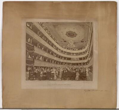 """Aquarell """"Zuschauerraum im alten Burgtheater in Wien"""" (1888) von Gustav Klimt von Josef Löwy"""