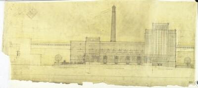 Fassadenentwurf für die Brotfabrik in Mährisch-Ostrau von Hubert Gessner