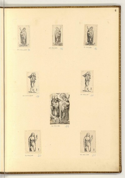 Frau mit Kind und Spindel; Mann trägt Wiege und Krug; Venus von Jacopo de' Barbari