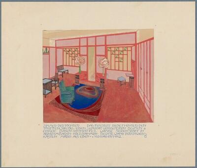 """Zimmer der Tochter, Wettbewerb """"Haus eines Kunstfreundes"""" von Leopold Bauer"""