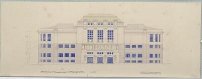 Konkurrenzprojekt für das Kaiser-Franz-Joseph-Stadtmuseum, Ansicht gegen den Karlsplatz von Leopold Bauer