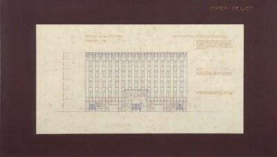 Konkurrenzprojekt für das Arbeiterheim Favoriten, Ansicht von der Straße von Leopold Bauer