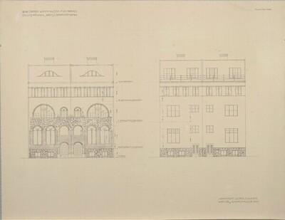 Bau zweier Wohnhäuser für Herrn Julius Frankl, Wien 1, Opernring, Fassadenabwicklung von Leopold Bauer