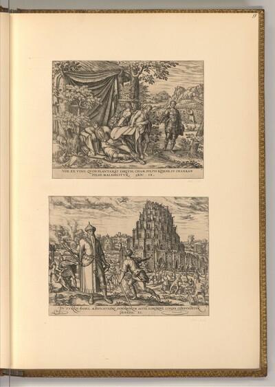Trunkenheit Noahs; Turmbau zu Babel von Simon Novellanus